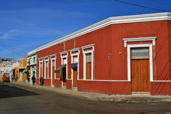 Street Corner, Merida, Mexico. Typical colorful street corner of a colonial town in Mexico Royalty Free Stock Images