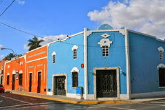 Street Corner, Merida, Mexico. Typical colorful street corner of a colonial town in Mexico Royalty Free Stock Image