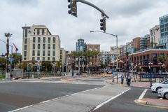 Street corner at San Diego Convention Center and Gaslamp Quarter - CALIFORNIA, USA - MARCH 18, 2019. Street corner at San Diego Convention Center and Gaslamp royalty free stock photography