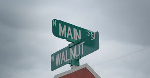 Street corner signs. Corner street green signs in America Stock Photos