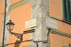 Street corner in Tuscany, Italy. A street corner from Lucca, a Tuscan town in Italy Stock Photo