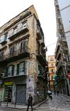 Street corner with very old apartment buildings in Palermo. Street corner with very old apartment buildings in a dilapidated state in Palermo, Sicily on via royalty free stock images