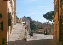 Street of Cortona, an antique tuscan town in Italy Stock Image