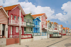 Street in  Costa Nova, Aveiro, Portugal Royalty Free Stock Image