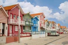 Street in  Costa Nova, Aveiro, Portugal Royalty Free Stock Image