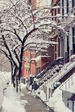 A street covered with snow Royalty Free Stock Images