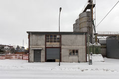 A street covered by snow in an old industrial area in south italy Stock Images