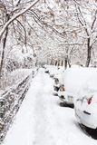 Street covered with snow Royalty Free Stock Photos
