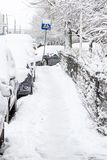 Street covered with snow after a storm Royalty Free Stock Photo