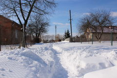 Street covered with snow Stock Photos