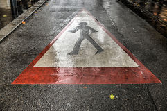 Street Crossing, Caution Pedestrians Royalty Free Stock Photos