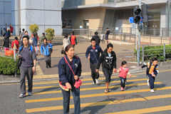 Street Crossing in Hong Kong Stock Photos
