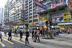 Street Crossing in Hong Kong. People crossing the Hennessy road in Causeway Bay District, Hong Kong Royalty Free Stock Images