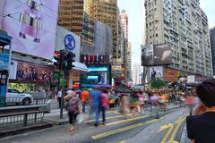 Street Crossing in Hong Kong. People crossing the Hennessy road in Causeway Bay District, Hong Kong Royalty Free Stock Photos
