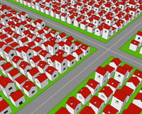 Street crossing in stylized town. A countless number of small houses with red roofs arranged in regular rows on a green ground, with a couple of roads Stock Photography