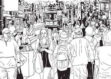 Street Crowd People Walking By the City Street Royalty Free Stock Photography