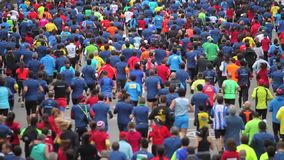 Street crowded of runners stock footage
