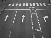 Street with cycling path Stock Images