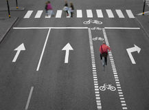 Street with cycling path Stock Photography