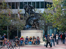 Street cyclists meet near Mechanics Monument in downtown San Francisco Stock Image