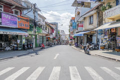 Street of Da Lat, Vietnam. Đà Lạt or Dalat (pop. 206,105 as of 2009, of which 185,509 are urban inhabitants, is the capital of Lâm Đồng Province in Royalty Free Stock Images