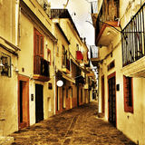 Street of Dalt Vila, the old town of Ibiza Town, in Balearic Isl stock photography