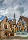 Street in Dambach la Ville, Alsace, France Royalty Free Stock Photography
