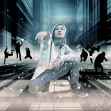 Street Dance. Asian Teenager Performing Street Dance With Urban Scene Royalty Free Stock Photography