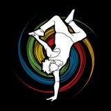 Street dance, B boys dance, Hip Hop Dancing action graphic vector stock illustration
