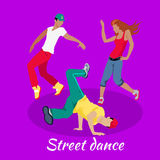 Street Dance Concept Flat Design Royalty Free Stock Photography