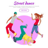 Street Dance Concept Flat Style Vector Web Banner. Street dance concept web banner. Flat style vector. Three break dancers, two man and girl dancing Royalty Free Stock Photography