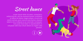 Street Dance Concept Flat Style Vector Web Banner. Street dance concept web banner. Flat style vector. Three break dancers, two man and girl dancing Royalty Free Stock Photo