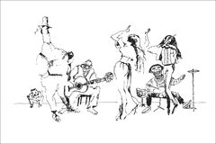 Street Dance Orchestra - abstract cartoon royalty free illustration