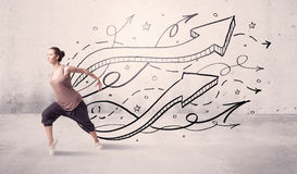 Street dancer with arrows and stars Royalty Free Stock Images
