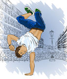 Street dancer on city abstract background Stock Image