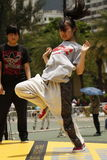 Street Dancer. A street dance is a dance style—regardless of country of origin—that evolved outside dance studios in any available open space such as streets Royalty Free Stock Images