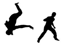 Street Dancer Fight 1. Illustration silhouette of street dance fight on white background Stock Images