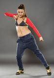 Street dancer girl doing moves Royalty Free Stock Photos