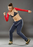 Street dancer girl doing moves Royalty Free Stock Images