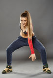 Street dancer girl doing moves Stock Photos