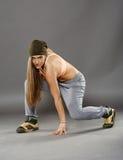 Street dancer girl doing moves. Young street dancer girl doing moves stock image