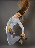 Street dancer girl doing moves Stock Images