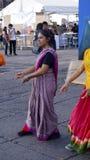 Street dancer hippie girl with striped dress Stock Photo