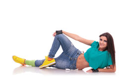 Street dancer laying on the floor Royalty Free Stock Photos