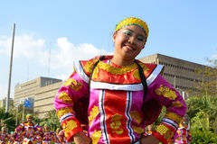 Street dancer portrait. MANILA, PHILIPPINES - APR. 14: Street dancer enjoying parade during Aliwan Fiesta, which is the biggest annual national festival Royalty Free Stock Images