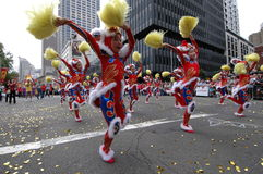 Street dancers. Little dancers in Chinese New Year parade celebration Stock Photo