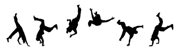Street Dancers. Banner illustration silhouette of street dancers on white Royalty Free Stock Images