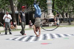 Street dancers in Barcelona, Spain Stock Images