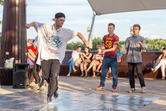 Street dancers on the central waterfront of the river Don in Rostov-on-Don. Street hip hop dancers  earn money on the central waterfront of the river Don in Stock Photos