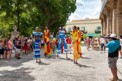 Street dancers in Old Havana Royalty Free Stock Image
